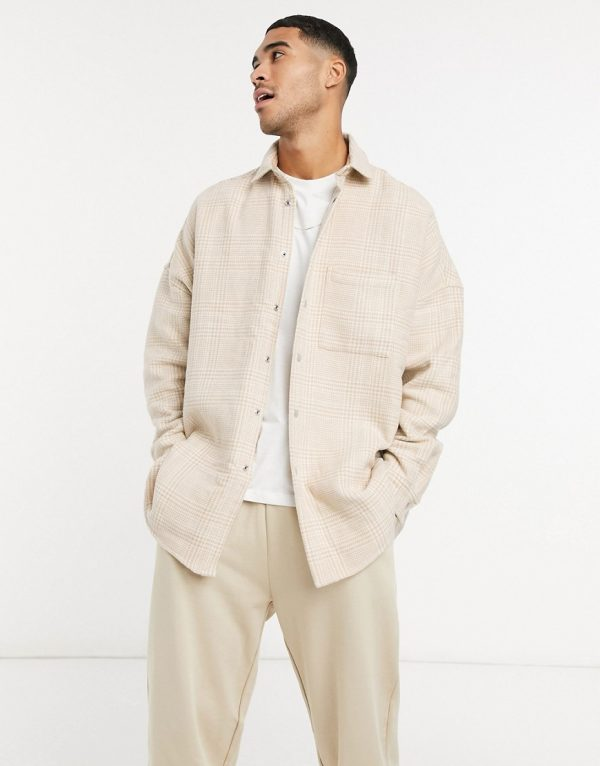 ASOS DESIGN wool blend oversized check shirt in tonal beige with snap buttons-Neutral