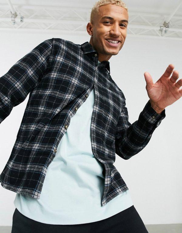 ASOS DESIGN wool-blend plaid overshirt in black