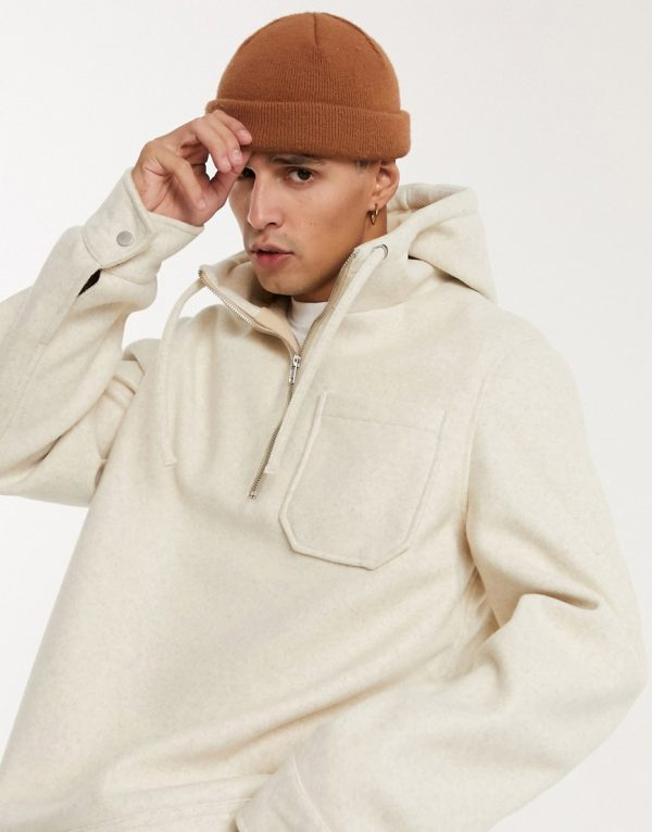 ASOS DESIGN wool-blend pullover jacket in ecru-Cream