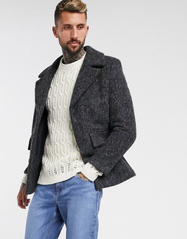 ASOS DESIGN wool mix coat with concealed placket in gray