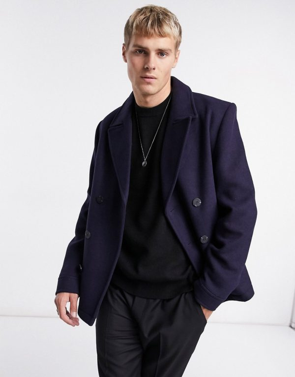 ASOS DESIGN wool mix double breasted peacoat in navy