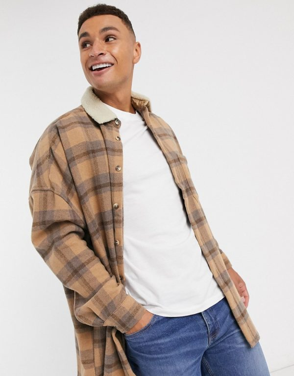ASOS DESIGN wool mix oversized dropped shoulder plaid shirts in lilac and orange