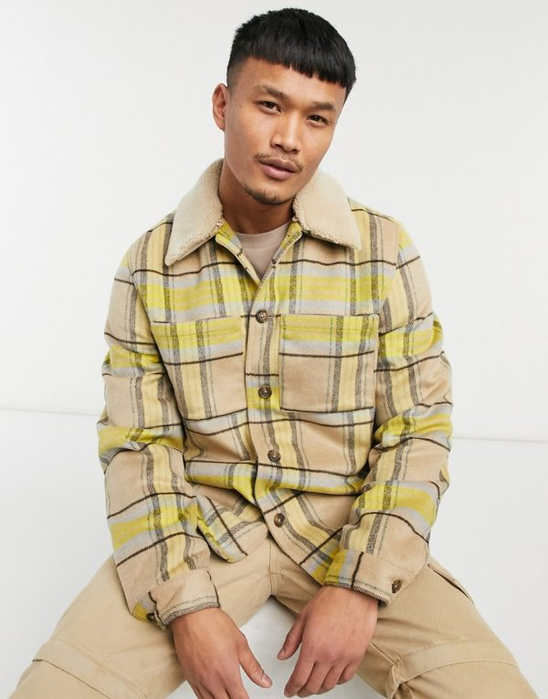 ASOS DESIGN wool mix shacket with quilted lining in yellow and ecru check