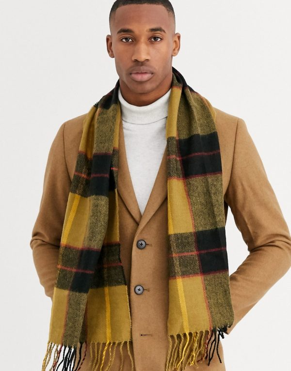 ASOS DESIGN woven standard scarf in mustard check with tassels-Multi