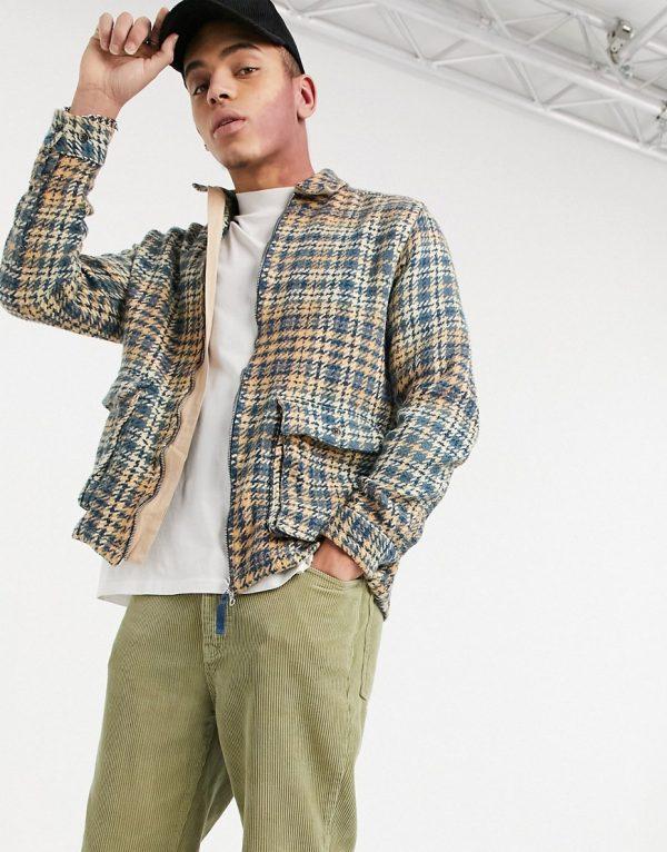 ASOS DESIGN zip up overshirt in beige plaid