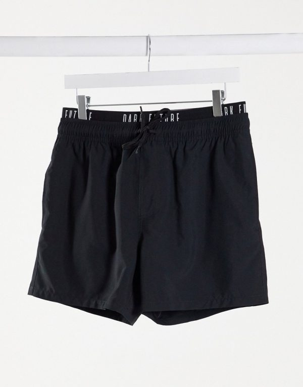 ASOS Dark Future swim shorts with printed waistband in black