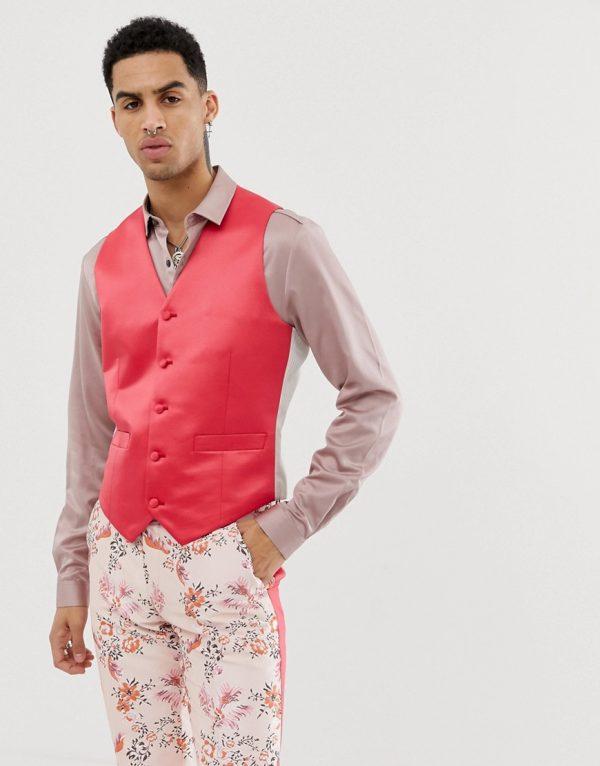 ASOS EDITION skinny suit vest in fuchsia pink