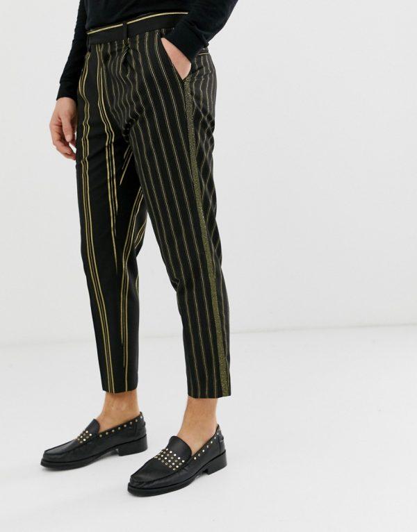 ASOS EDITION slim crop pants with stripe in black