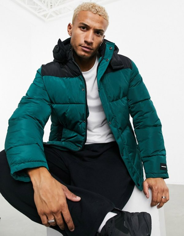 ASOS Unrvlld Spply puffer jacket with colorblock panel in green