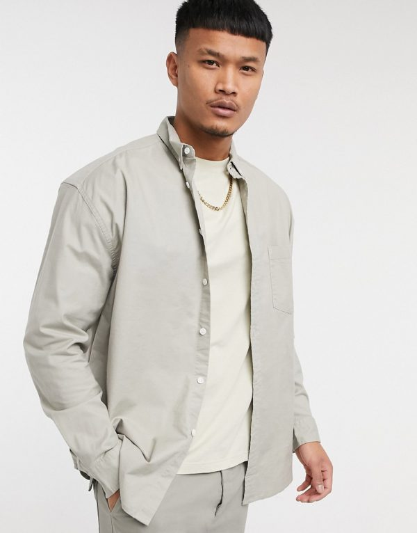 ASOS Unrvlld Supply 90s oversized organic oxford shirt in beige