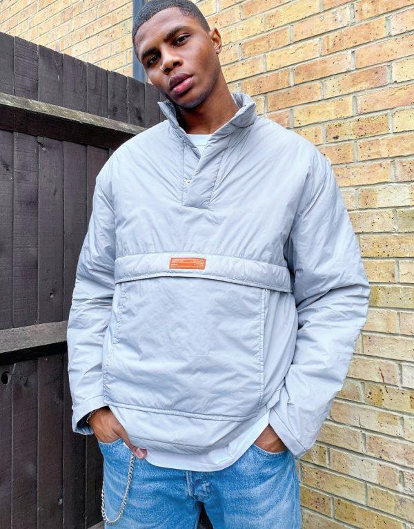 ASOS Unrvlld Supply overhead padded jacket in gray-Grey