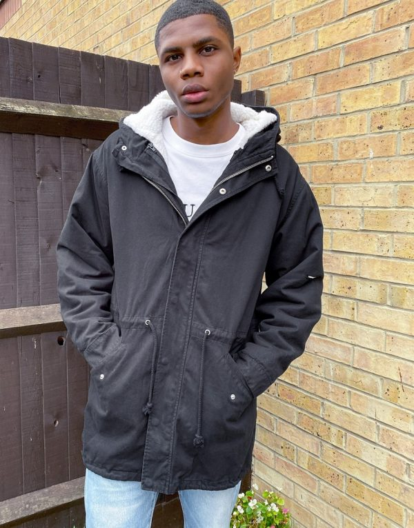 ASOS Unrvlld Supply parka jacket with detachable teddy liner in black