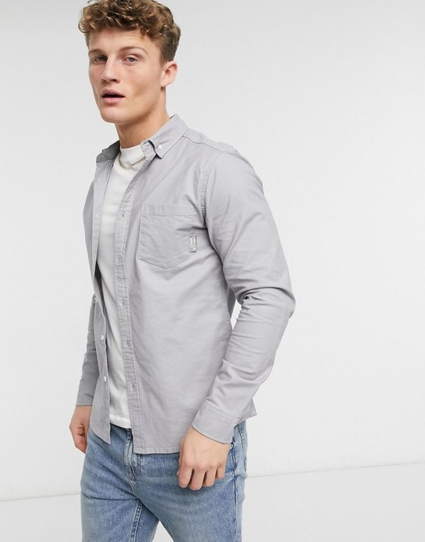 ASOS Unrvlld Supply slim fit organic oxford shirt in charcoal-Grey