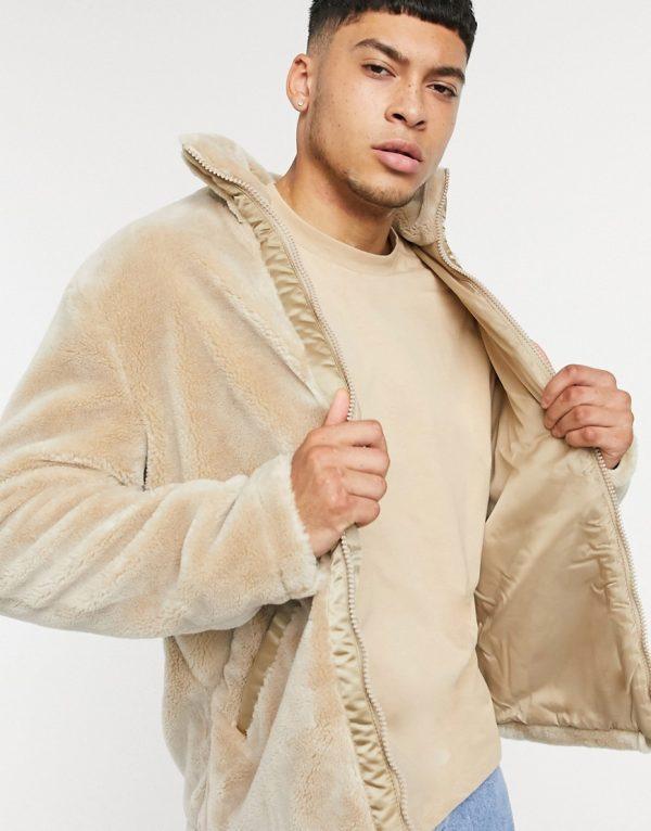 ASOS Unrvlld Supply teddy jacket in stone-Beige