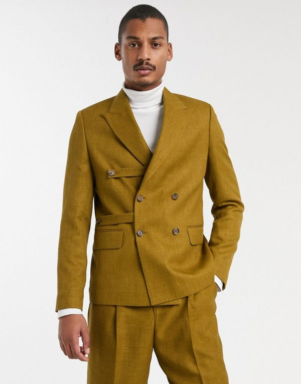 ASOS WHITE two-piece boxy blazer in brown with strap detail