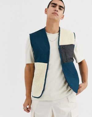 ASOS WHITE vest in borg & quilted pattern-Blues