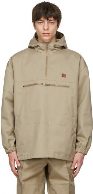 Acne Studios Beige Twill Hooded Anorak Jacket