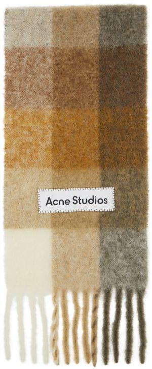 Acne Studios Beige & Brown Alpaca & Mohair Large Check Scarf