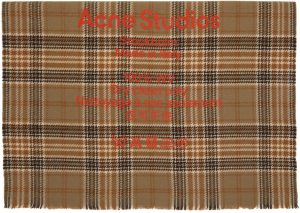Acne Studios Beige & Brown Wool Tartan Check Scarf