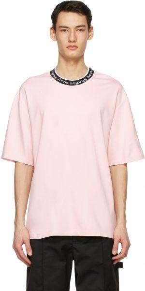 Acne Studios Pink Jacquard Logo T-Shirt