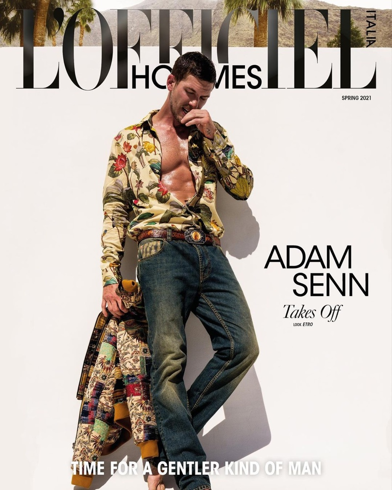 Adam Senn covers the spring 2021 edition of L'Officiel Hommes Italia.