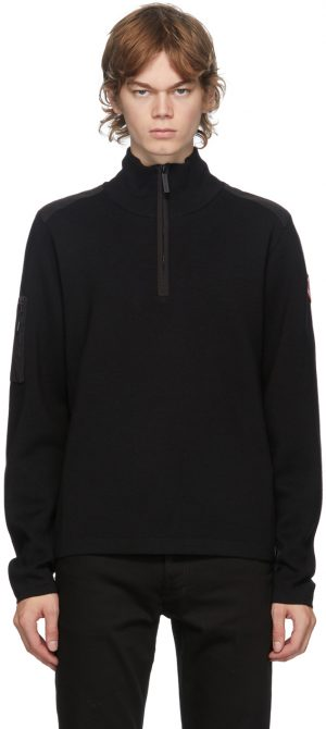 Canada Goose Black Wool Stormont 1/4 Zip Sweater