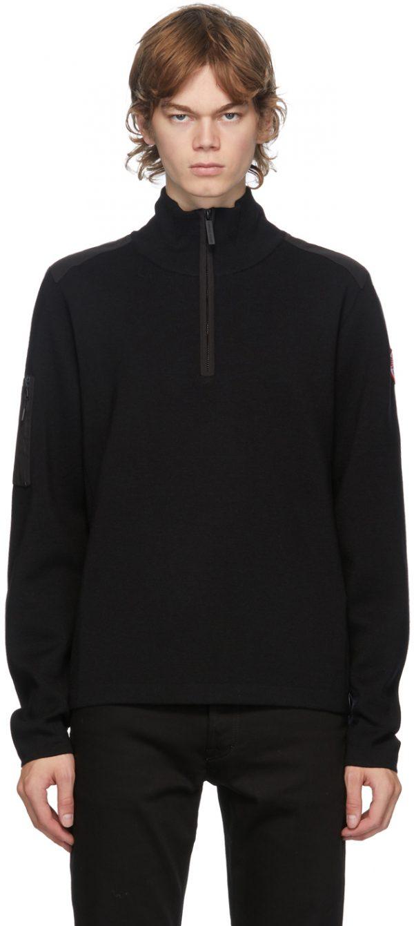 Canada Goose Black Wool Stormont 1/4 Zip Sweater