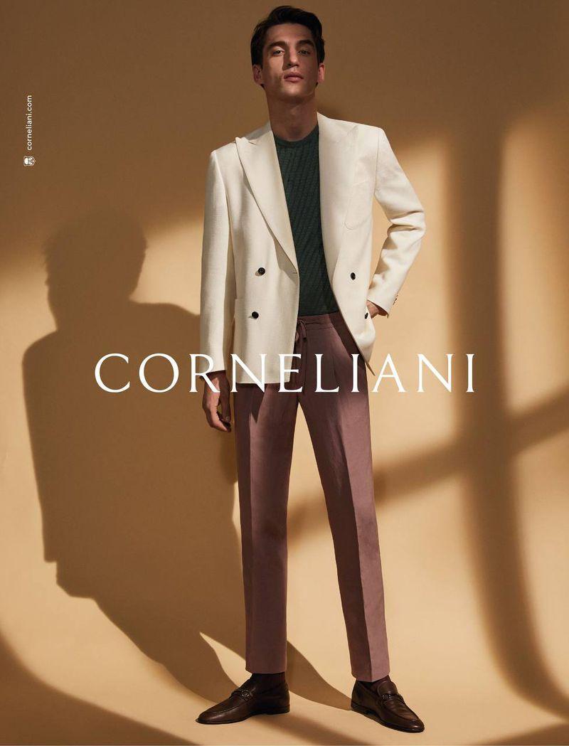 Reuniting with Corneliani, Anatol Modzelewskistars in the brand's spring-summer 2021 campaign.