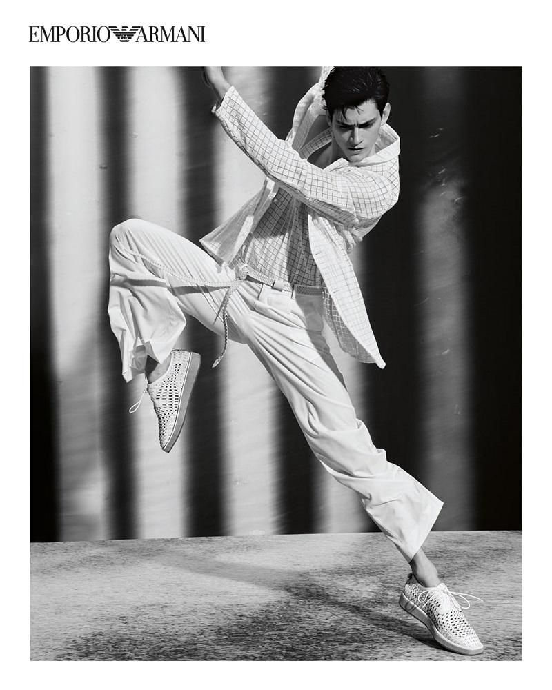 Dancer and model Tristan Ridel stars in Emporio Armani's spring-summer 2021 campaign.