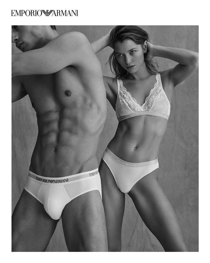 Alvaro Beamud Cortes photographs Aleksandar Rusić and Hana Jirickova for Emporio Armani's spring-summer 2021 underwear campaign.