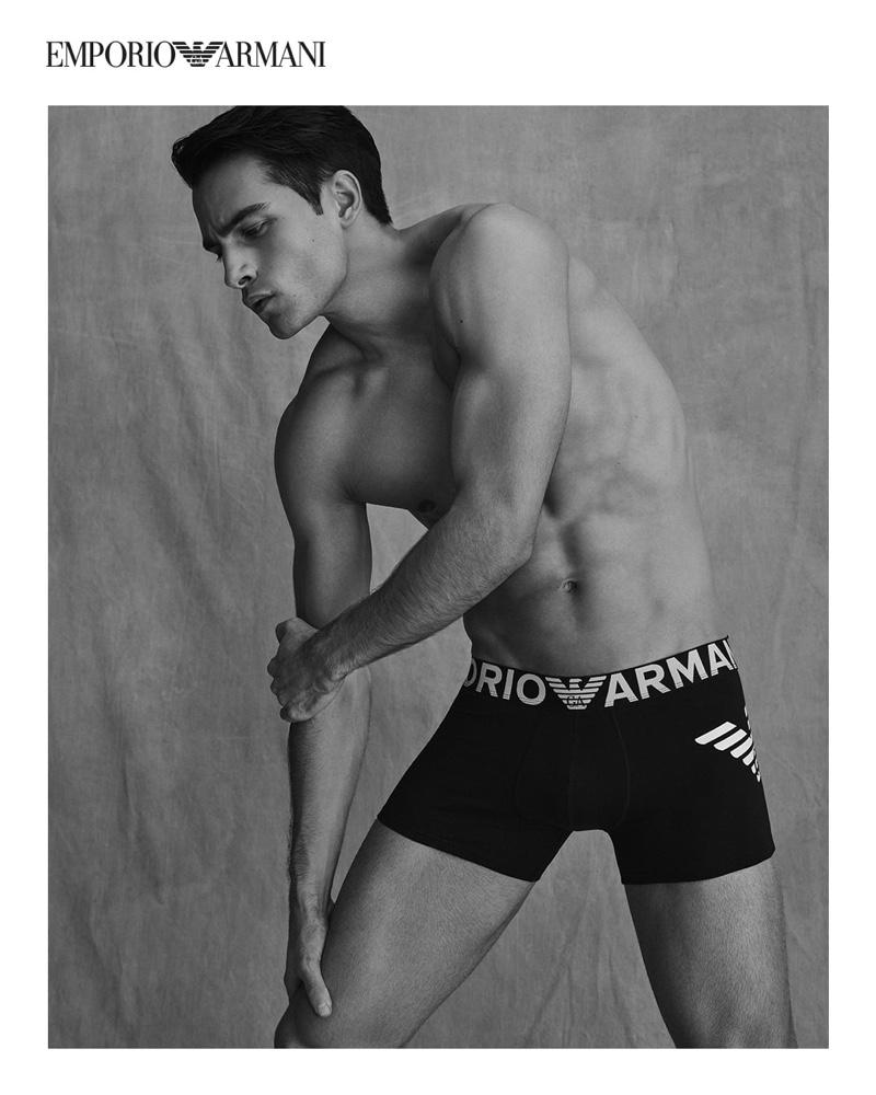 Aleksandar Rusić fronts Emporio Armani's spring-summer 2021 underwear campaign.