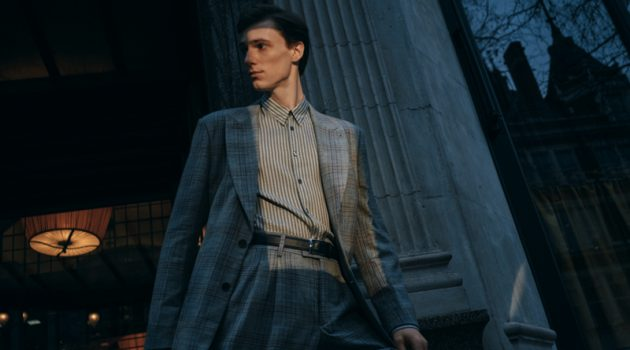 Tommaso de Benedictis wears a Prince of Wales checked silk and wool-blend suit jacket and trousers with a slim-fit striped wool and silk-blend shirt from Mr Porter.