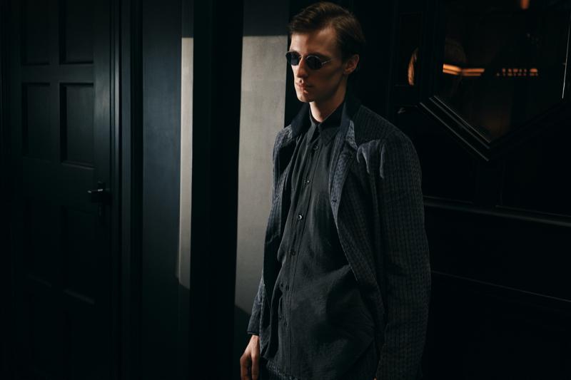 Model Tommaso de Benedictis dons a jacquard shirt jacket by Giorgio Armani for Mr Porter.