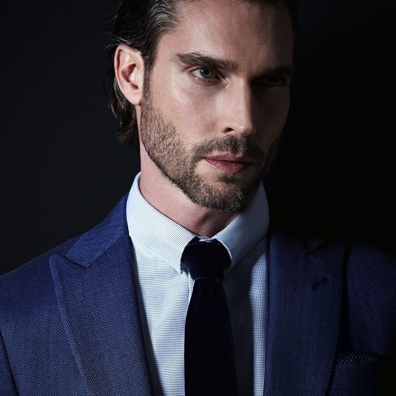 Ready for his close-up, Donny Lewis appears in Giorgio Armani's spring-summer 2021 Made to Measure campaign.