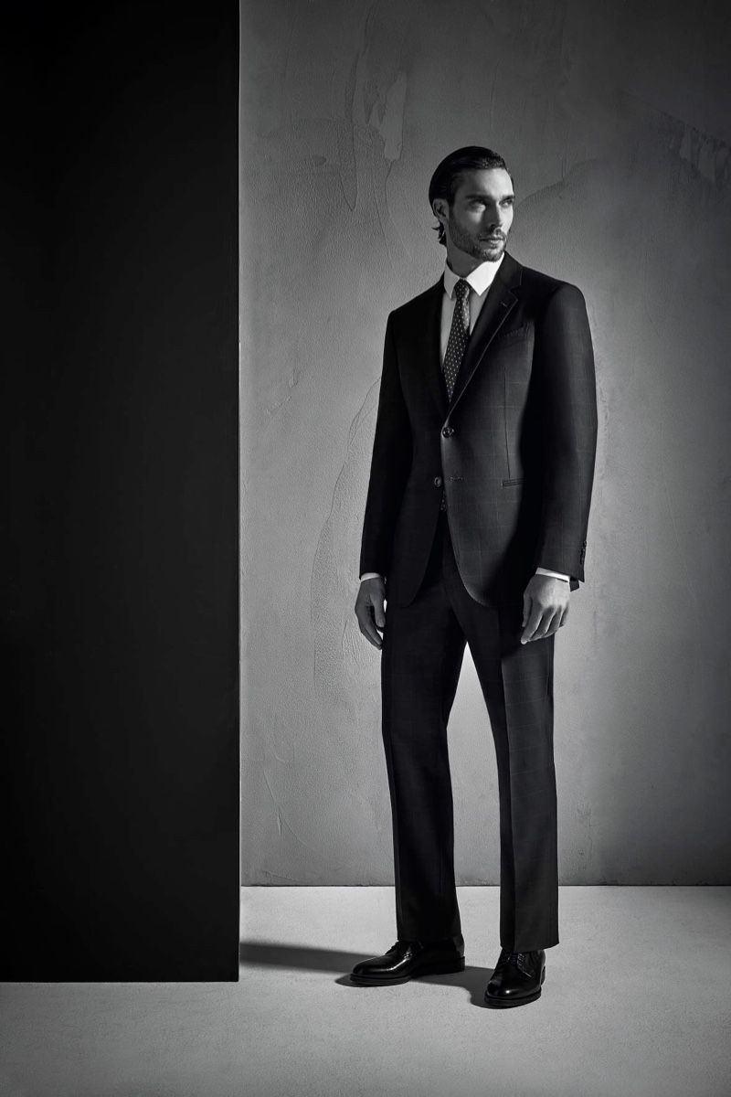 Giulio Rustichelli photographs Donny Lewis for Giorgio Armani's spring-summer 2021 Made to Measure campaign.