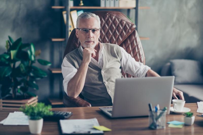 Grey Hair Older Business Man Laptop