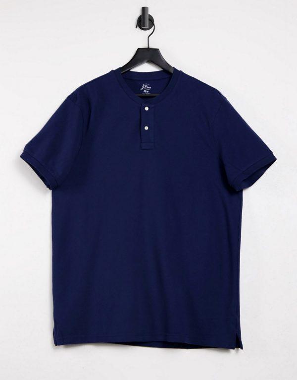 J Crew mox pique henley t-shirt-Blues