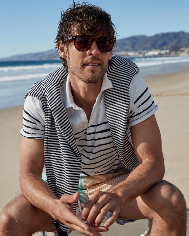 Josh Upshaw Hits the Beach in J.Crew Swimwear
