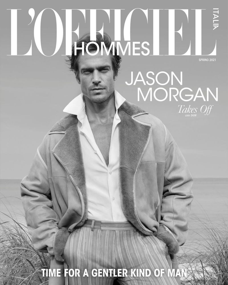 Jason Morgan covers the spring 2021 edition of L'Officiel Hommes Italia.