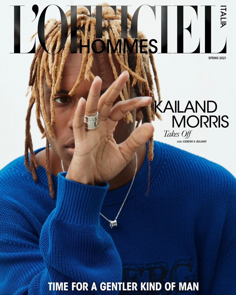 Kailand Morris covers the spring 2021 edition of L'Officiel Hommes Italia.