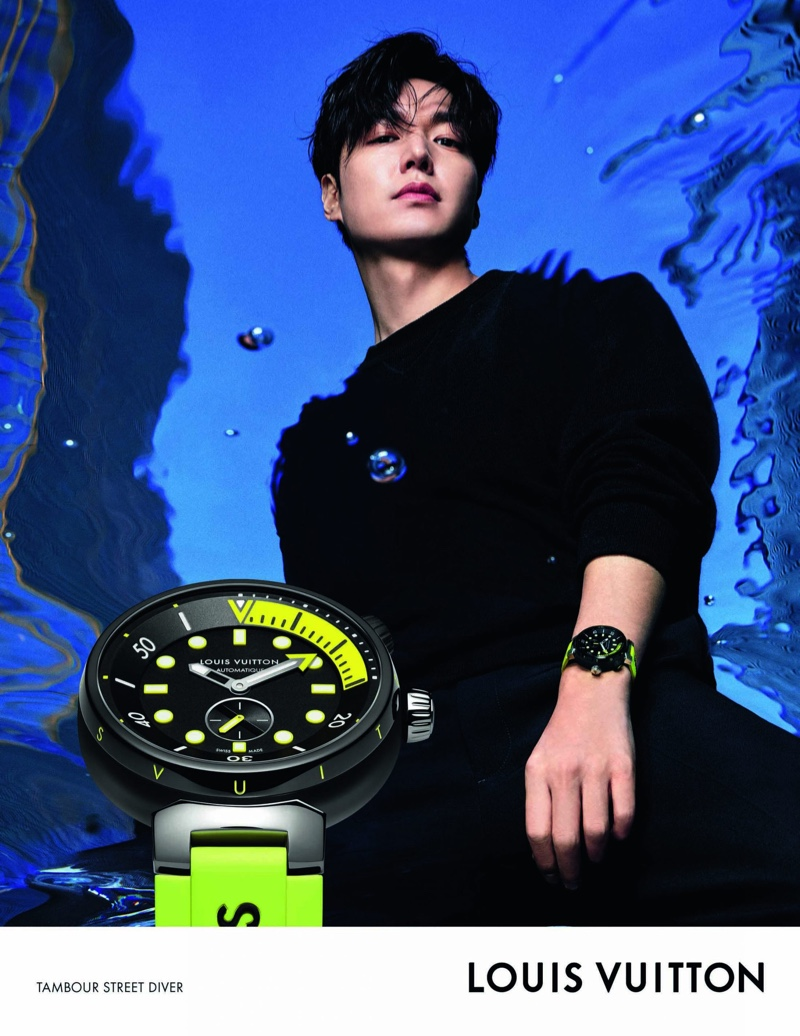 Lee Min-ho appears in the Louis Vuitton Tambour Street Diver watch campaign.
