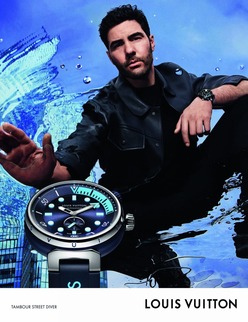 Tahar Rahim fronts the Louis Vuitton Tambour Street Diver watch campaign.