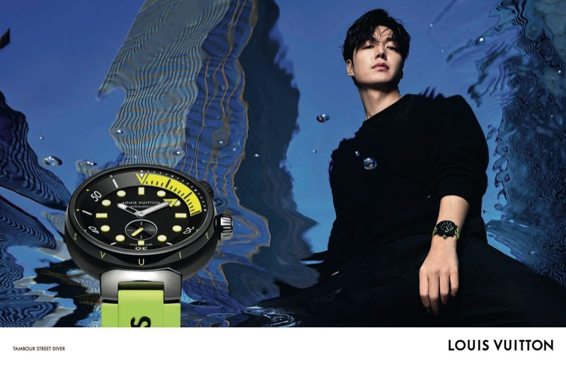 South Korean actor Lee Min-ho fronts the Louis Vuitton Tambour Street Diver watch campaign.