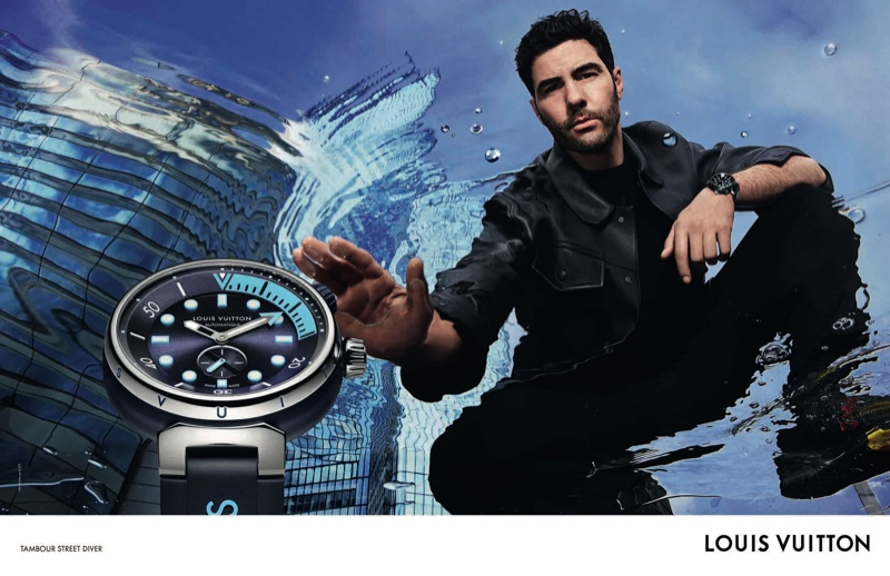 Actor Tahar Rahim stars in the Louis Vuitton Tambour Street Diver watch campaign.
