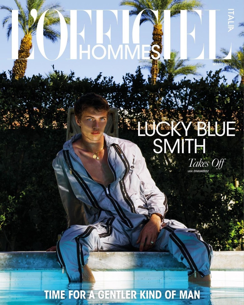 Lucky Blue Smith covers the spring 2021 edition of L'Officiel Hommes Italia.