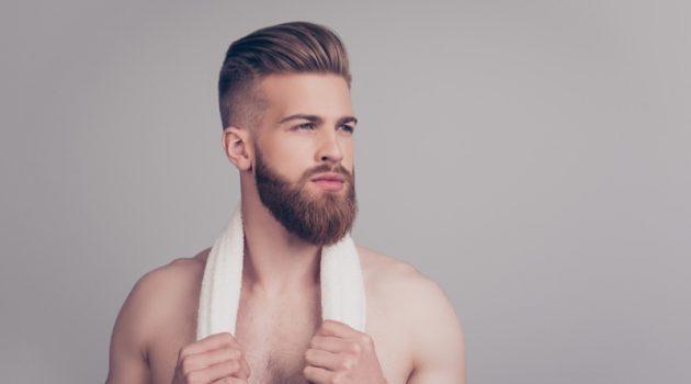 Male Model Groomed Shirtless Beard Hairstyle