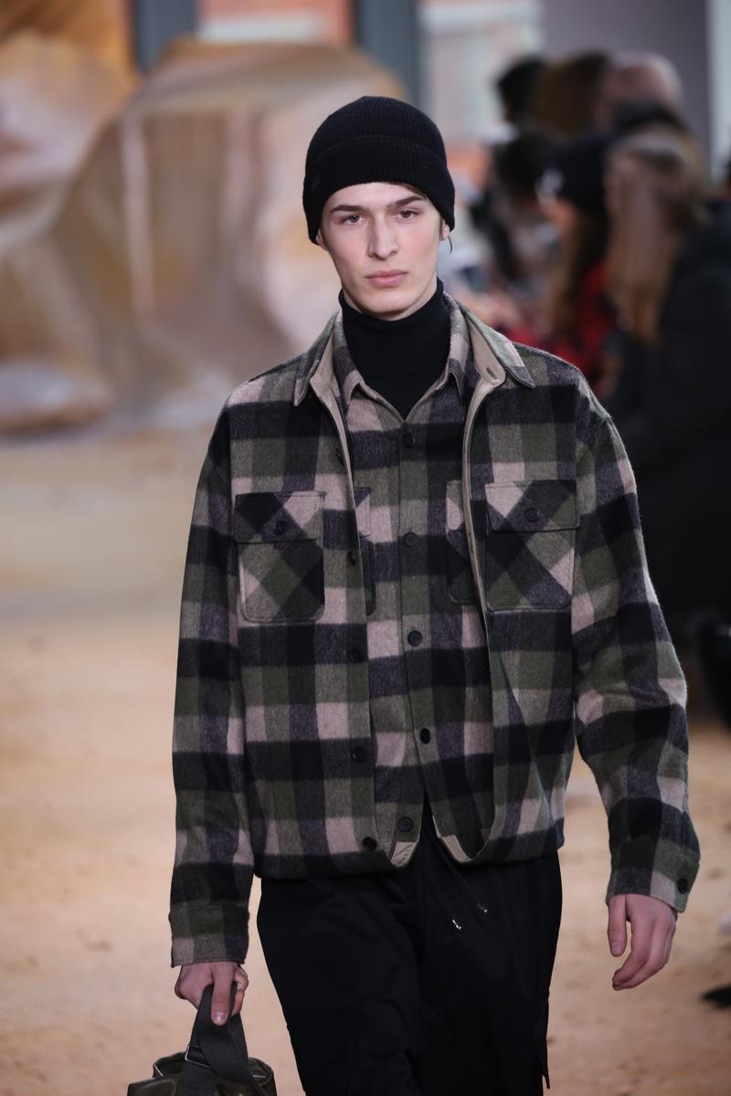 Male Model Lacoste Runway Plaid Look Fashion