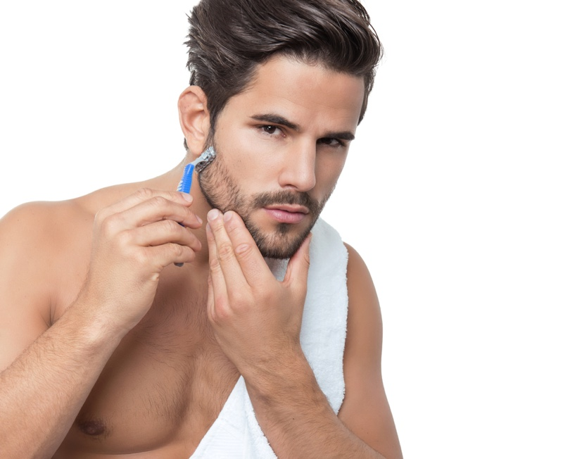 Male Model Shaving Face