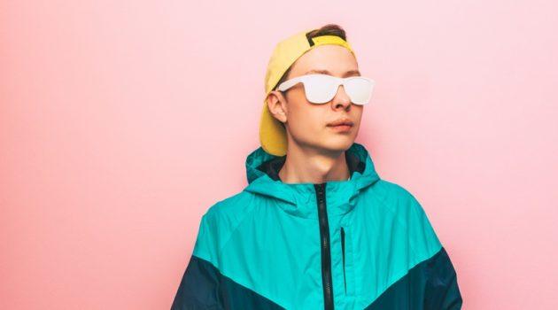 Man Neon Jacket White Glasses Retro Rave