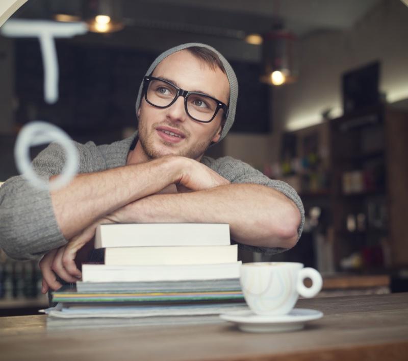 Man Stack Books Glasses Studying